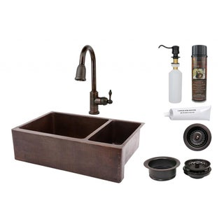 33-inch Hammered Copper 75/25 Double Basin Sink and Faucet Package
