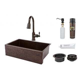 33-inch Scroll Design Copper Hammered Single Basin Sink and Faucet Package