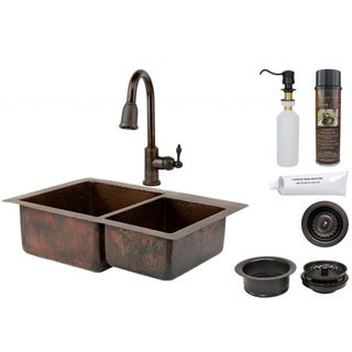 Premier Copper Products 60/40 Double Basin Sink and Pull Down Faucet Package