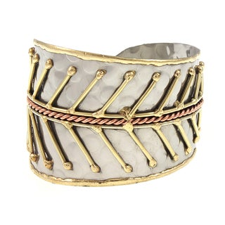 Handcrafted Mixed Metals Fishbone Cuff Bracelet (India)
