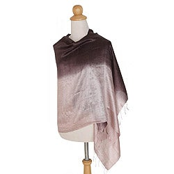 Handcrafted Silk 'Shimmering Raisin' Shawl (Thailand)