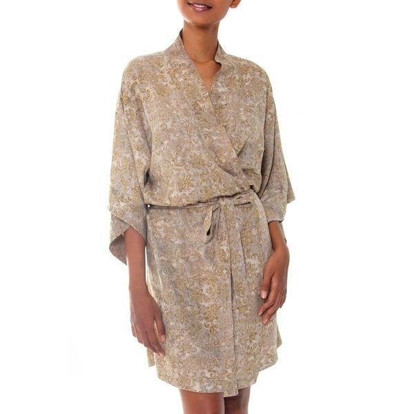 Rayon 'Autumn Jasmine' Batik Robe (Indonesia)