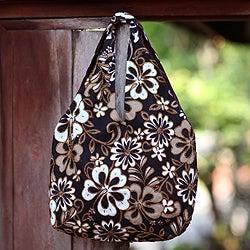 Cotton 'Tropical Bouquet' Beaded Large Shoulder Bag (Indonesia)