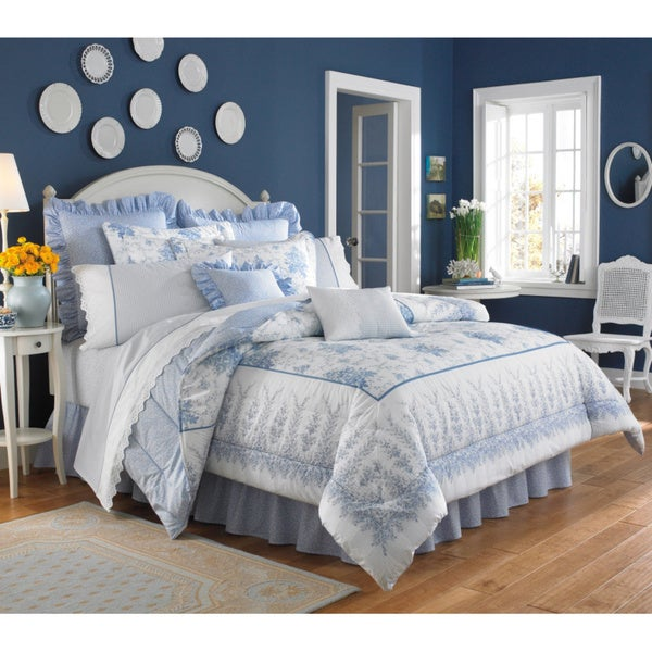 Laura Ashley Sophia Cotton 4-piece Comforter Set (Euro Shams Sold Separately)