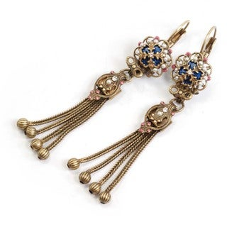 Sweet Romance Bronzetone Faux Pearl and Crystal Vintage Tassel Earrings