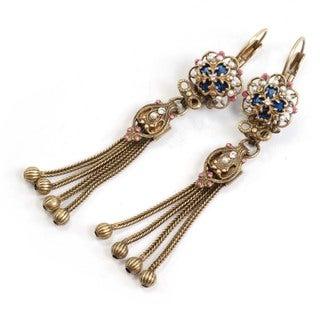 Sweet Romance Bronzetone Faux Pearl and Crystal Vintage Tassel Earrings