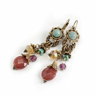 Sweet Romance Pewter Glass Bead Flutter Earrings