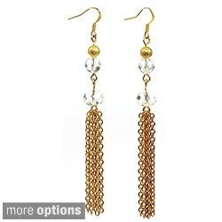 Pretty Little Style Goldtone Glass Tassel Earrings