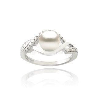 Glitzy Rocks Silver FW Pearl and Diamond Accent Swirl Ring (7 mm)
