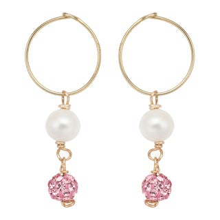 Pearlyta 14k Gold Freshwater Pearl and Pink Crystal Hoop Earrings with Gift Box