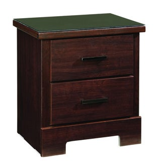 Leah Merlot Finish 2-drawer Nightstand