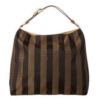 Fendi 'Pequin' Large Striped Hobo