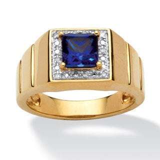 PalmBeach Gold/ Silver Men's Lab-created Sapphire and Diamond Ring