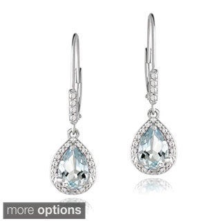 Glitzy Rocks Sterling Silver Gemstone and Diamond Teardrop Earrings
