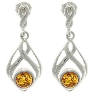 CGC Sterling Silver Baltic Amber Drop Dangle Earrings