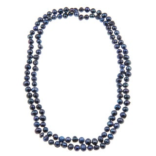 Blue Freshwater 5-6mm Pearl Necklace (50 inch)