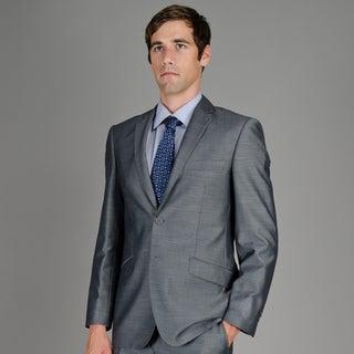 Men's Slim Fit Grey Sharkskin 2-Button Suit