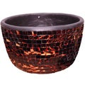 Deep Chocolate and Gold Mosaic Glass Art Bowl (Indonesia)
