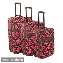 World Traveler Damask Expandable 3-piece Wheeled Upright Luggage Set