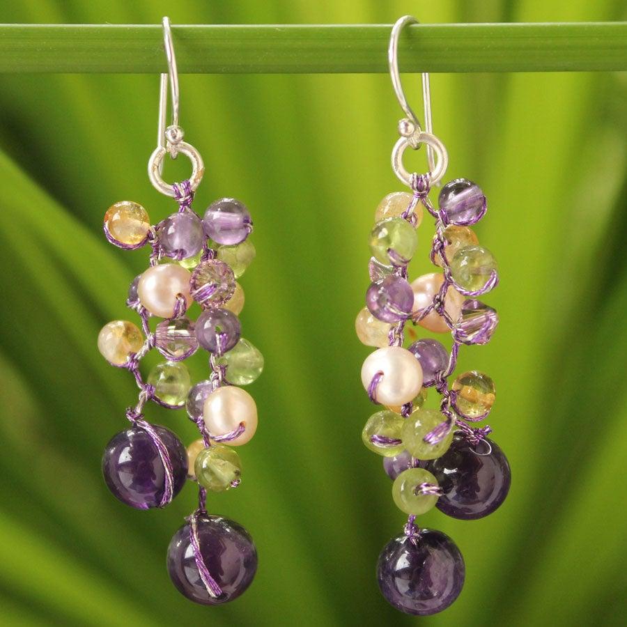 Multi-gemstone 'Mystic Passion' Pearl Earrings (3.5-4 mm) (Thailand)