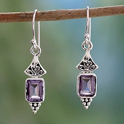 Sterling Silver 'Lilac Lantern' Amethyst Earrings (India)