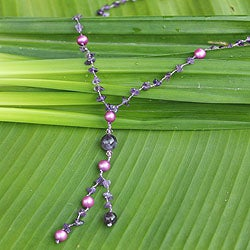 Amethyst 'Nature's Melody' Pearl Necklace (7 mm) (Thailand)
