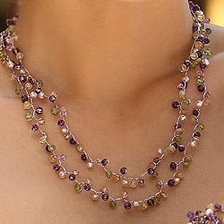 Multi-gemstone 'Mystic Passion' Pearl Necklace (3.5-4 mm) (Thailand)