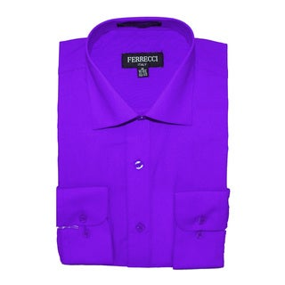 Ferrecci Men's Slim Fit Purple Collared Formal Shirt