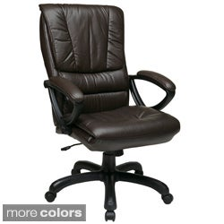 Office Star Products Work Smart High Back Glove Soft Leather Executive Chair