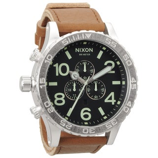 Nixon Men's '51-30' Stainless-Steel Leather-Strap Chronograph Watch