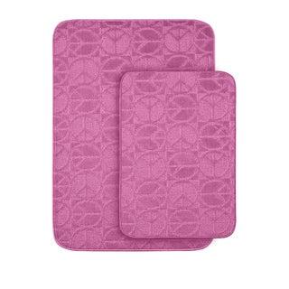 Somette Peace, Love & Pink Bath Rug Set of 2