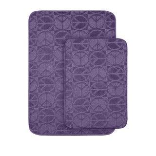 Somette Peace, Love & Purple Bath Rug Set of 2