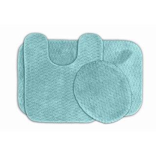 Somette Enliven Seafoam Textured Bath, Lid and Contour 3-piece Bath Rug Set