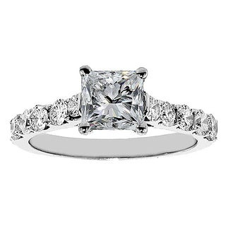 White Gold or Platinum 2ct TDW Clarity Enhanced Princess Diamond Engagement Ring (F-G, SI1-SI2)