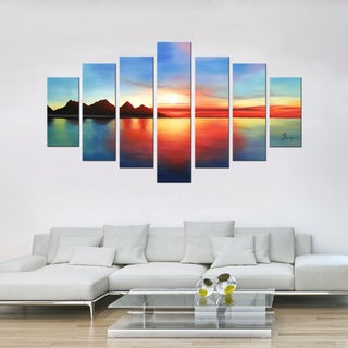 'Colorful Sunset' 7-piece Gallery-wrapped Hand Painted Canvas Art Set