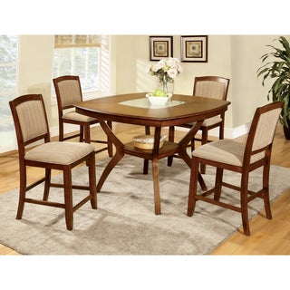 Furniture of America Jalayan Counter-height Crack Glass Insert 5-piece Dining Set