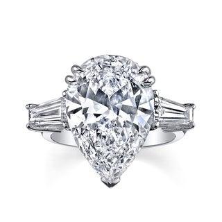 Platinum 9 1/6ct TDW Certified Pear Shape Diamond Ring (H, SI1)