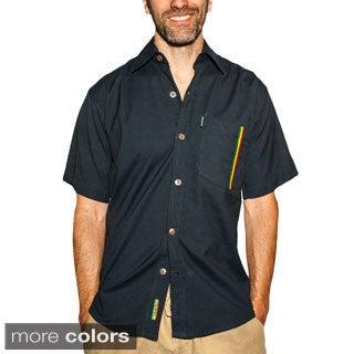 Men's Rasta Detail Cotton Short Sleeved Button Down Shirt (Nepal)