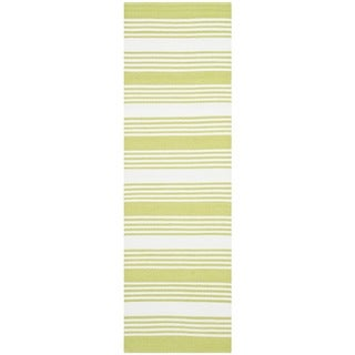 Thom Filicia Hand-woven Indoor/ Outdoor Green Plastic Rug (2' x 12')