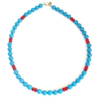 Every Morning Design Blue Turquoise and Coral Necklace