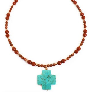 Every Morning Design Turquoise Magnesite Cross On Red Jasper Necklace