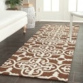 Safavieh Handmade Cambridge Moroccan Dark Brown Wool Rug (2'6 x 12')