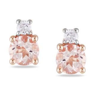 Miadora 10k Rose Gold Morganite and Diamond Stud Earrings