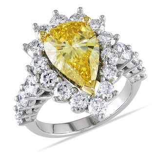 Miadora 19k Gold 5 1/2ct TDW Certified Yellow and White Diamond Ring (F-G, SI1-SI2)