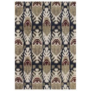 Alliyah Handmade IKAT' Black New Zealand Blend Wool/ Viscose Silk Rug (9' x 12')
