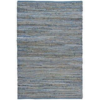 Blue Jeans Hand-woven Denim/ Hemp Rug (2'6 x 4'2)