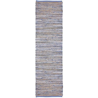 Blue Jeans Hand-woven Denim/ Hemp Runner Rug (2'6 x 8')