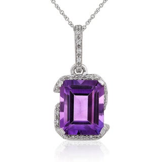 Annello 14k White Gold Amethyst and 1/6ct TDW Diamond Necklace (H-I, I1-I2)