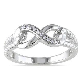 Haylee Jewels Sterling Silver Diamond Infinity Ring