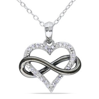 Haylee Jewels Sterling Silver 1/10ct TDW Diamond Heart Necklace